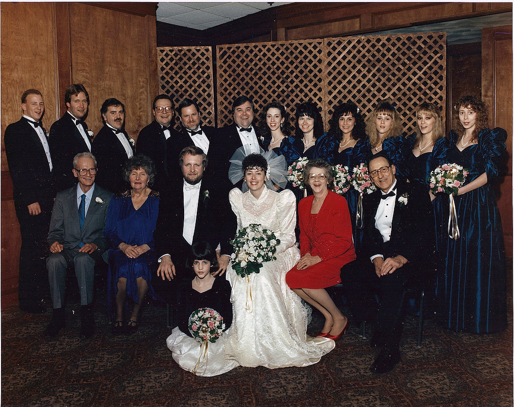 Big shoulders were in at this 1990 wedding.  Source: Flickr user Casaurbante