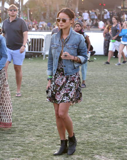At this year's Coachella, Jamie Chung made a concert-cool pairing with her Levi's denim jacket and floral minidress.
