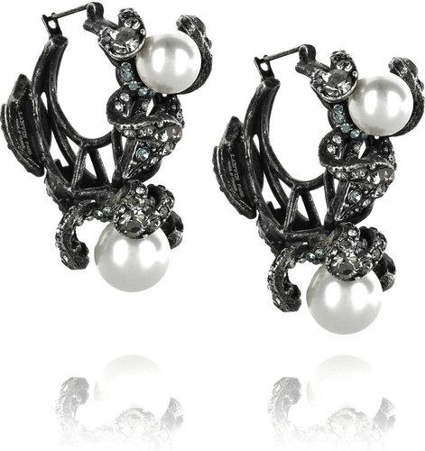 Lanvin Fleur Strassee crystal hoop earrings