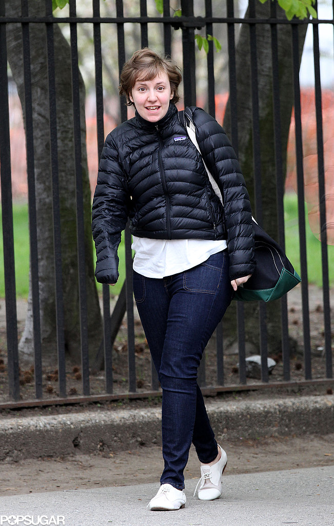 Lena Dunham got back to work in NYC for season three of Girls on Tuesday.