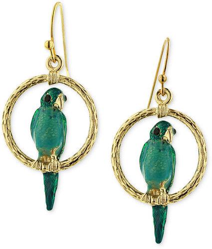2028 Earrings, Gold-Tone Green Bird Drop Earrings