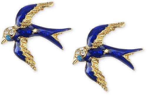 Betsey Johnson Earrings, Gold-Tone Blue Bird Stud Earrings