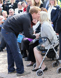 Prince Harry kissed one brain injury survivor on the cheek.