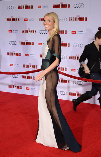 Gwyneth Patlrow donned a sheer Antonio Berardi dress to hit the red carpet for her Iron Man 3 premiere in LA.