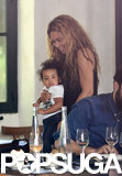 "Beyoncé Knowles hugged her daughter, Blue, during a lunch outing in Paris with Jay-Z. That same day, Beyoncé's new commercial for H&M was released, featuring a snippet of her song ""Standing on the Sun."""