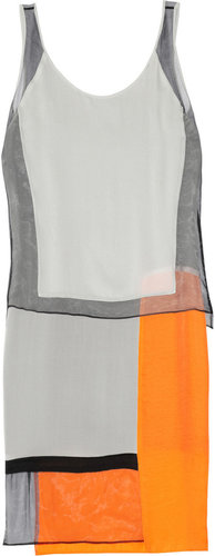 Helmut Lang Textured-crepe, chiffon and satin paneled dress