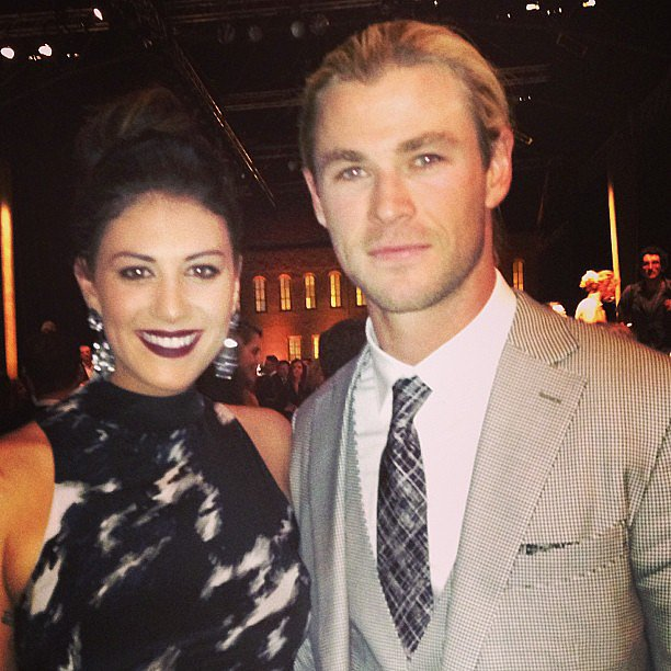 Stephanie Rice linked up with Chris Hemsworth at the Zegna Wool Trophies. Source: Instagram user itsstephrice