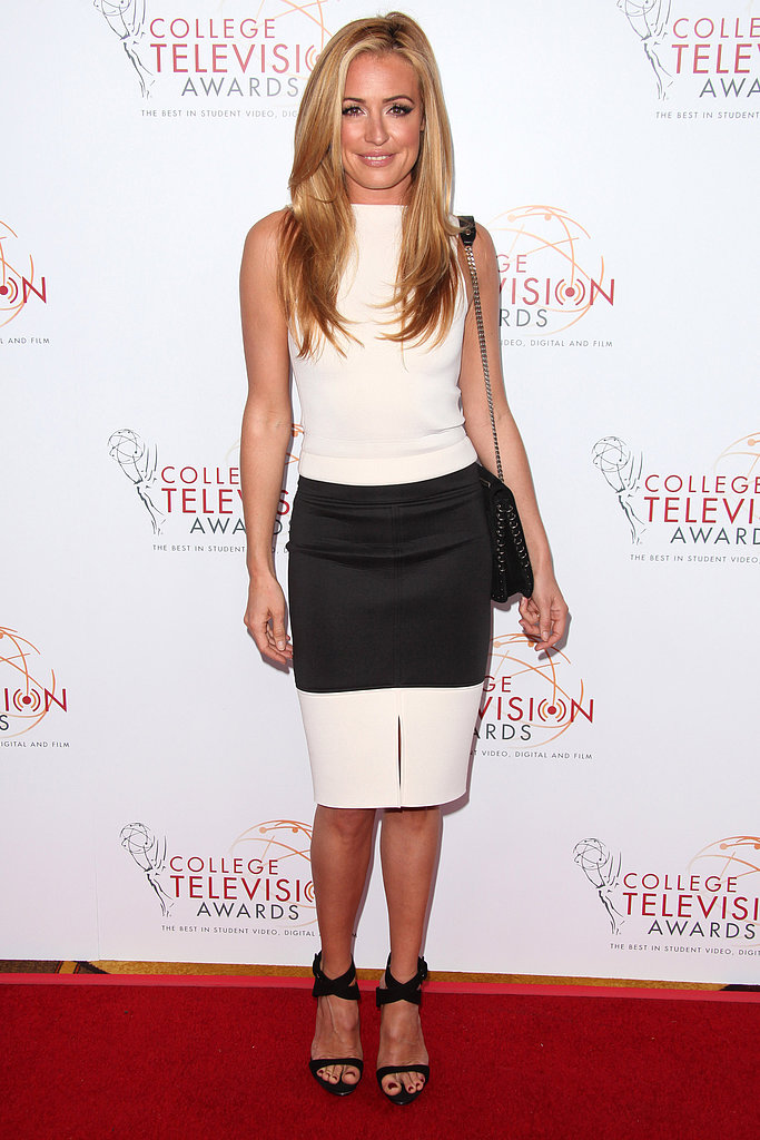 Cat Deeley made a case for the trend in a sleek white top and colourblocked pencil skirt — she even kept her accessories in the same colourway to maximize the effect at the 34th College Television Awards Gala.