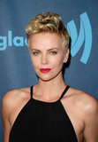 Charlize Theron's porcelain skin and hot pink lips