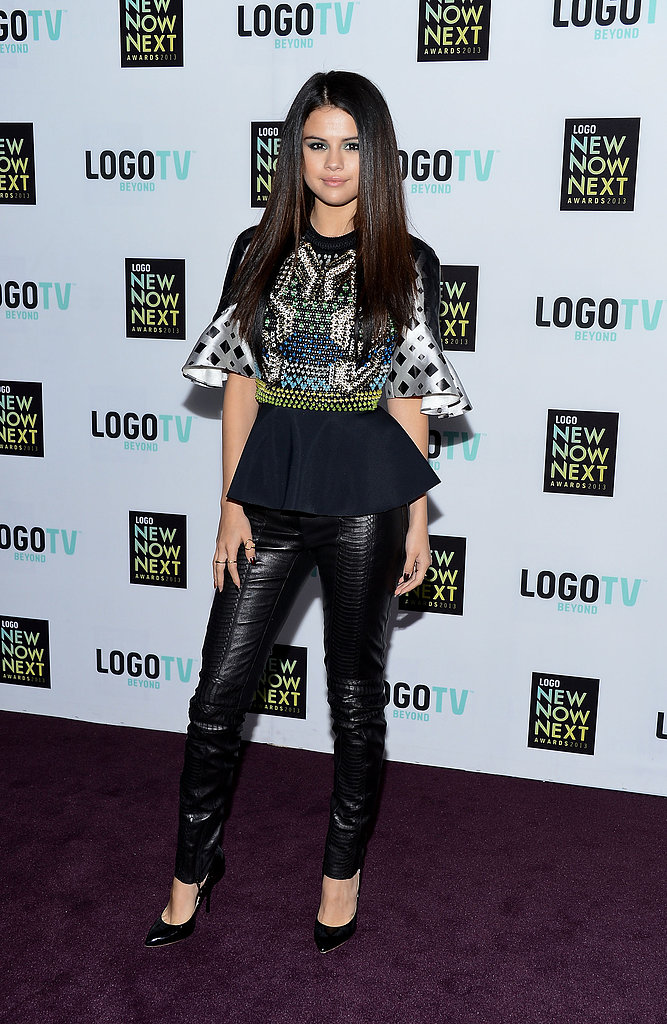 Selena turned it out for the Logo NewNowNext Awards in April, pairing a printed Peter Pilotto Carolina peplum top ($1,361) with Plein Sud leather skinnies and Giuseppe Zanotti pumps. We love how she kept her hair stick-straight, which plays nicely with the voluminous blouse.