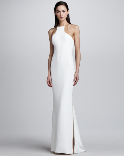 Kaufman Franco Sheer Back Inset Gown, White