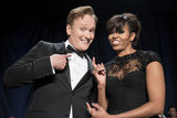 Conan O'Brien and Michelle Obama goofed around.