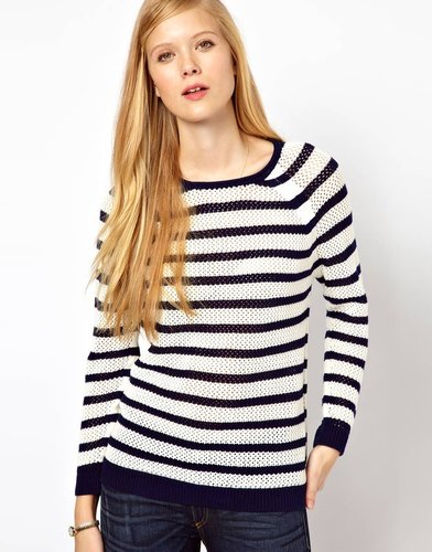 Whistles Alexis Stripe Lace Stitch Sweater