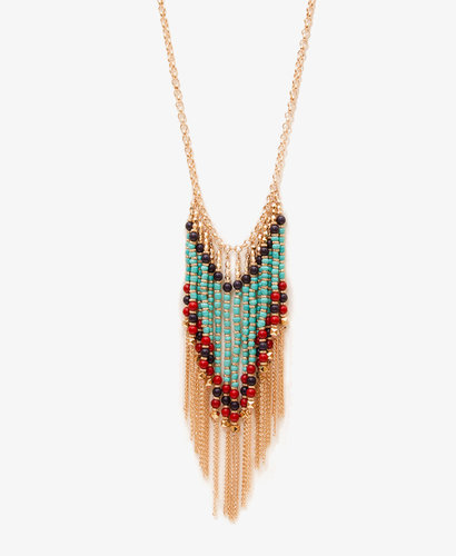 FOREVER 21 Beaded Fringe Necklace
