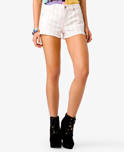 FOREVER 21 Frayed Striped Denim Shorts