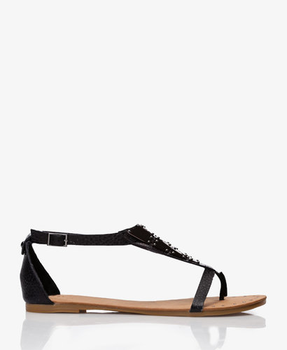 FOREVER 21 Faux Leather Geo Thong Sandals