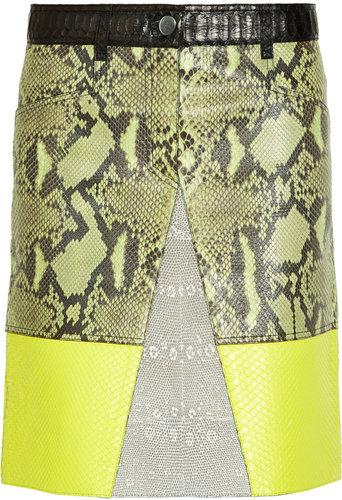 Proenza Schouler Python, lizard and leather A-line skirt