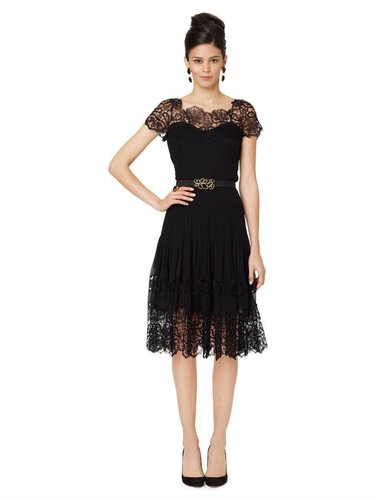 Lace Illusion Top Dress With Soft Pleated Skirt