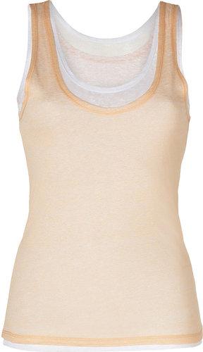 Majestic Peach/White Double Layer Linen Tank Top