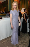 Nicole Kidman joined the post-show festivities at Bloomberg and Vanity Fair's cocktail reception in a short-sleeve lilac beaded and crystal embellished Emilio Pucci gown and a Bottega Veneta clutch.