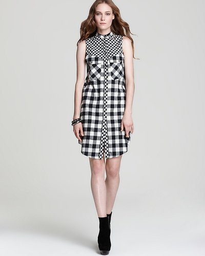 10 Crosby Derek Lam Sleeveless Dress - Flannel with Tab Collar