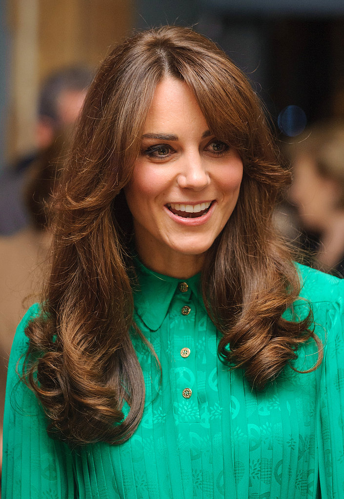 Kate debuted a beautiful blowout along with some new bangs at the opening of the Natural History Museum's Treasure Gallery in 2012.