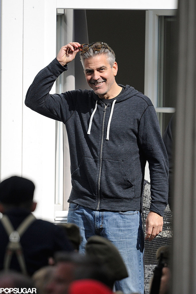 George Clooney smiled while filming The Monuments Men in Goslar, Germany, on Monday.