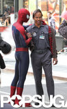 Jamie Foxx and Andrew Garfield filmed a scene in NYC.