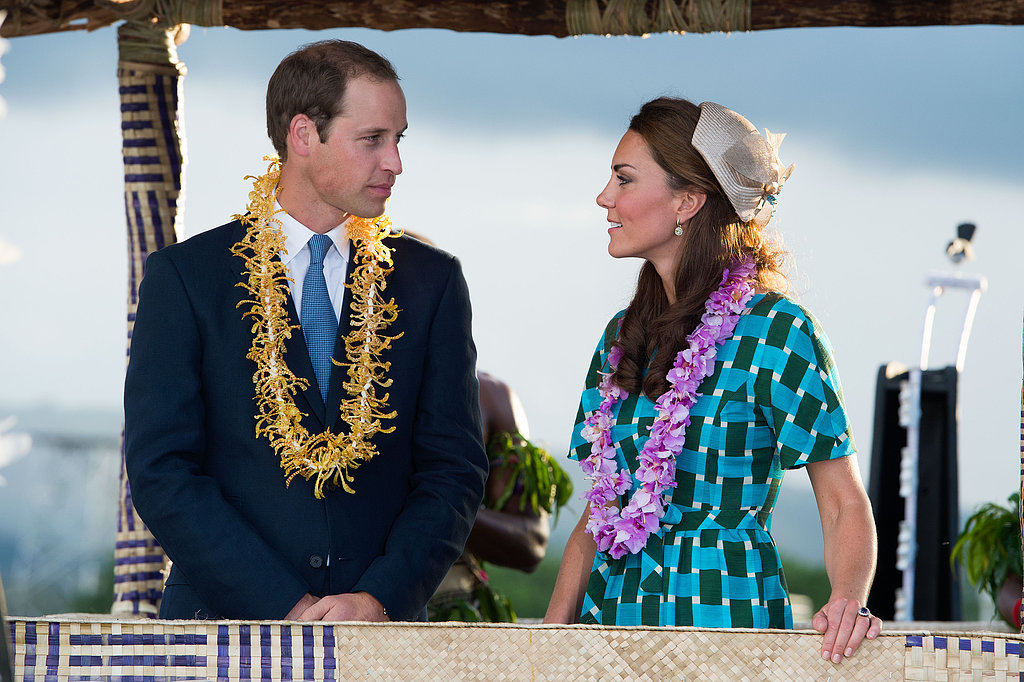 For day six of their Jubilee tour, the couple stepped out in colorful flower leis. But that's not all — Kate also took the color quotient up a notch with her printed Jonathan Saunders look.