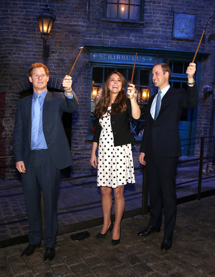 Kate and both princes got silly at the new Warner Bros. Studios in London. While the men looked dapper in suits, Kate looked totally cute in a polka-dotted Topshop dress and black Ralph Lauren jacket.