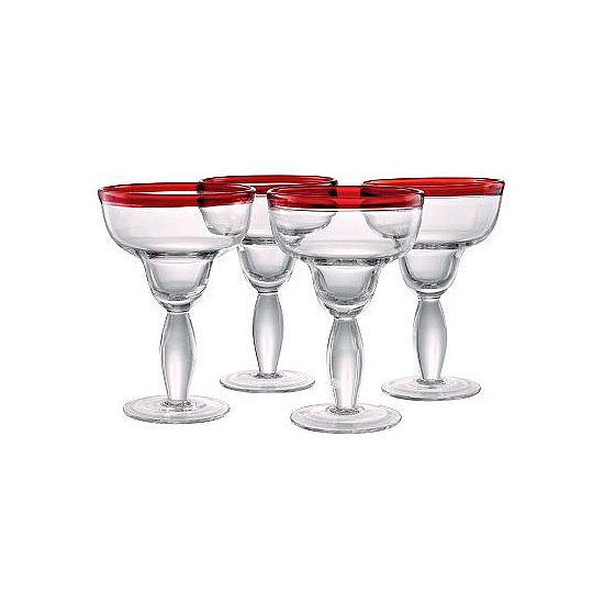 Color-Rimmed Margarita Glasses