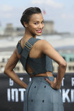 Crisscross straps, a hint of midriff, and a bold red lip were all Zoe Saldana needed to make a serious statement at the Berlin photocall of Star Trek Into Darkness.