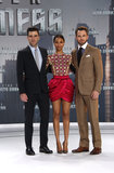 Zachary Quinto, Zoe Saldana, and Chris Pine got together before heading into the Star Trek Into the Darkness premiere in Berlin.
