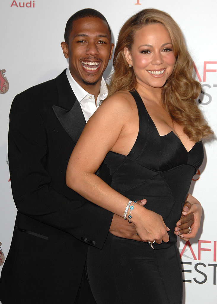 Nick Cannon and Mariah Carey smiled at an LA screening of Precious in November 2009.