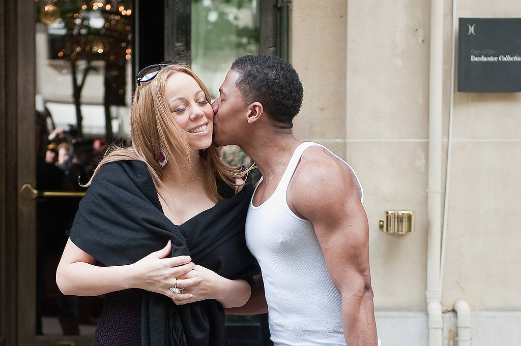 Mariah Carey and Nick Cannon showed PDA in Paris as they left their hotel in April 2012.