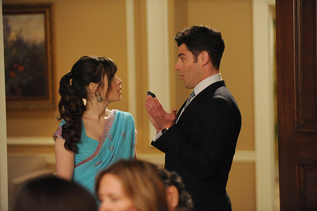 Zooey Deschanel and Max Greenfield on New Girl.
