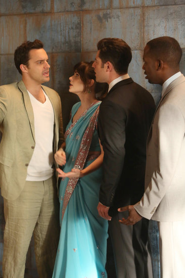 Jake Johnson, Zooey Deschanel, Max Greenfield, and Lamorne Morris on New Girl.