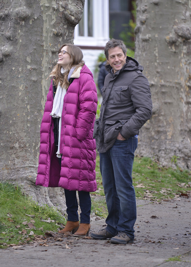 Hugh Grant worked his charm with Bella Heathcote in NYC for Marc Lawrence's new romantic comedy on Sunday.