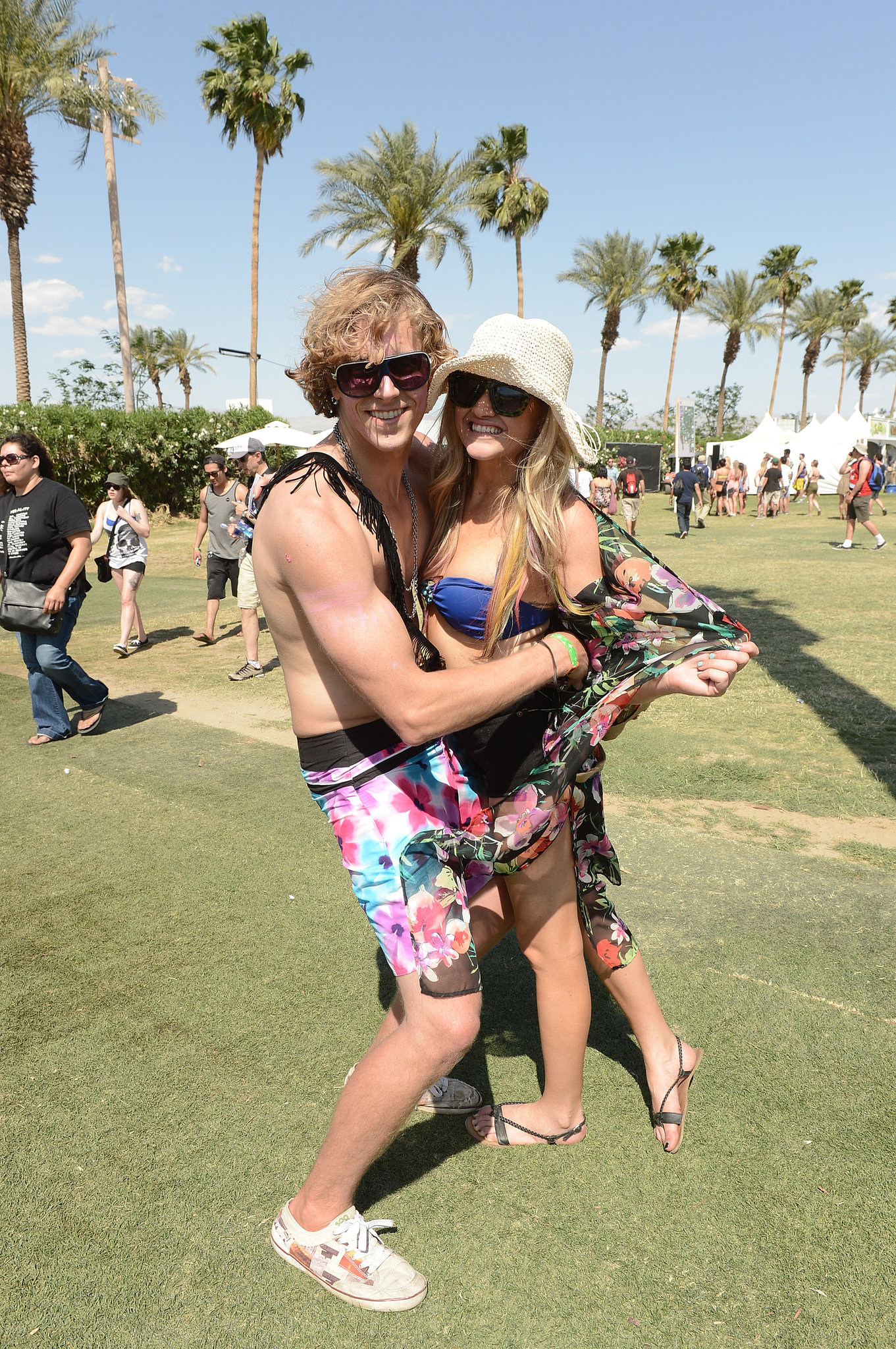 This cute Coachella twosome embraced at the Indio, CA, music festival.