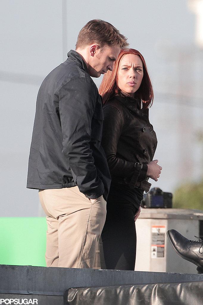 Scarlett Johansson and Chris Evans filmed a scene for Captain America: The Winter Soldier.