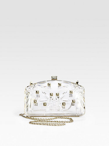 Valentino Studded Carved Transparent Minaudiere Clutch