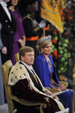 King Willem-Alexander and Queen Maxima sat down during their inauguration ceremony at New Church in Amsterdam.