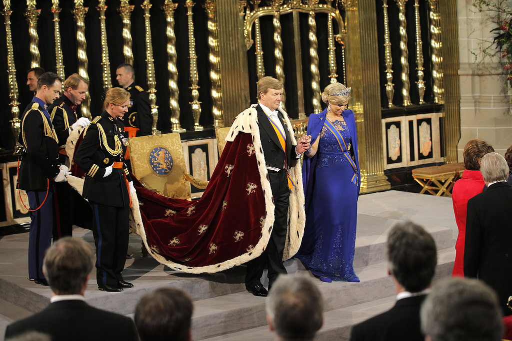 The king and queen prepared to leave the ceremony.