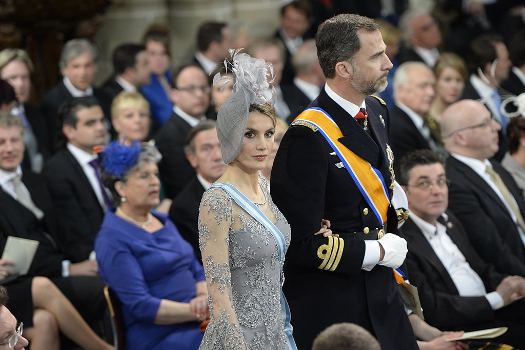 Princess Letizia and Prince Felipe of Spain arrived at the inauguration.