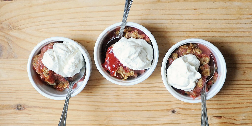Get Sweet on Strawberry Rhubarb Crumble With Cardamom Cream