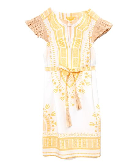 "Nothing says ""summertime"" like this amazing Gypset Coco Dashiki dress ($350). The yellow print would look amazing against sun-kissed skin, and how cool is the raffia sleeve detailing? — Chi Diem Chau"