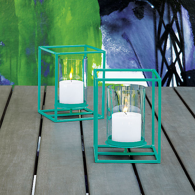 We are in love with the color of these steel cube lanterns ($30) and the fact that they hold pillar candles or tea lights.