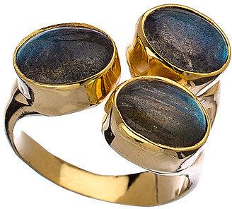 Mali Sabatasso Gold and Triple Labradorite Ring