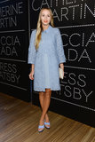 Harley Viera-Newton looked Spring fresh in a cornflower blue outfit made up of a laser-cut coat, collared blouse, pencil skirt, and platform sandals at the Prada and The Great Gatsby party.