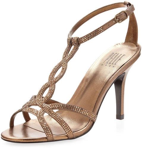 Pelle Moda Mila Rhinestone-Strap Sandal, Bronze